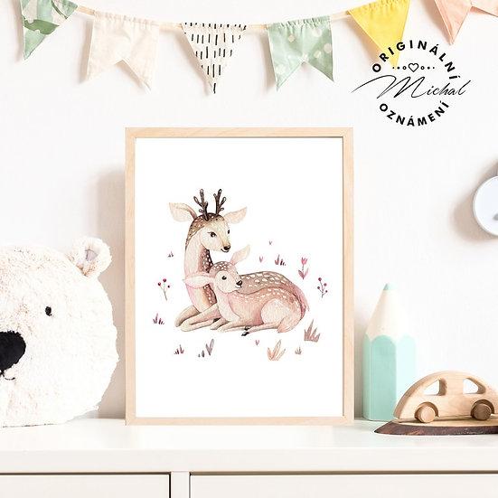 Plakát srnečka s maminkou lesní zvíře