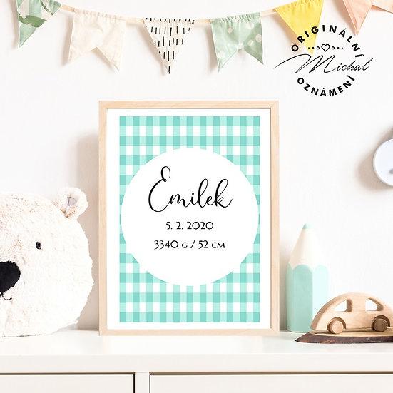 Plakát s údaji narození 24