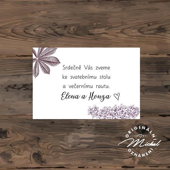Pozvánka ke svatebnímu stolu - TYP 123