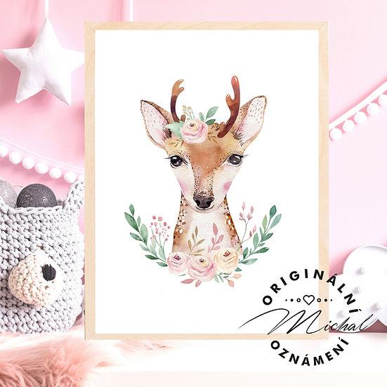 Plakát srnečka holčička s kytičkami