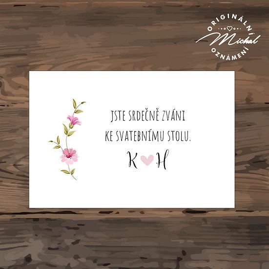 Pozvánka ke svatebnímu stolu - TYP 227