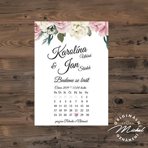 Svatební oznámení s květy, svatební oznámení s kalendářem