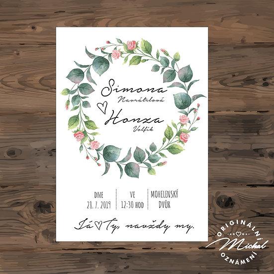 Svatební oznámení s květy, svatební oznámení s listy, přírodní, věneček
