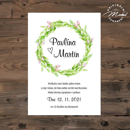 Svatební oznámení, zelený věneček, růžové poupata
