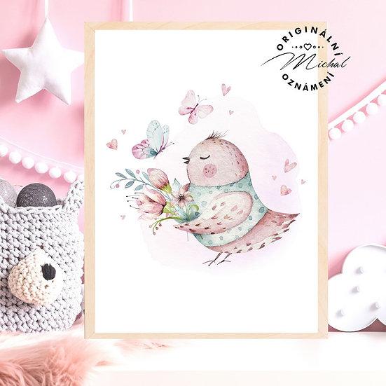 Plakát ptáček roztomilý láska