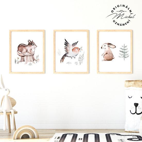 Plakát set lesní zvířátka ptáček, zajda a veverka