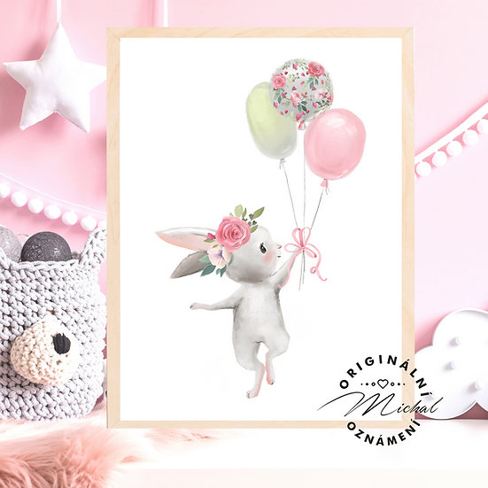 Plakát zajíček holčička s balónky