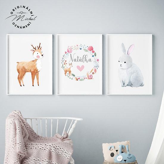Lesní zvířátka set – plakáty