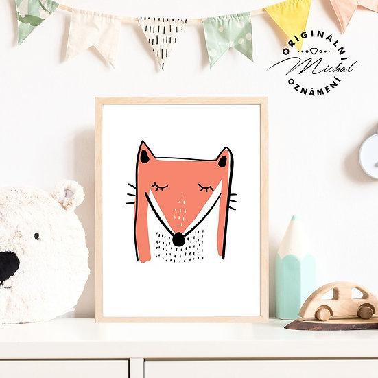 Plakát moderní lišák liška pro děti