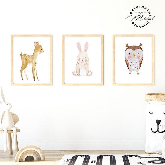 Plakát set koloušek srna zajíček sova