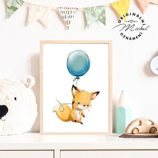 Plakát liška lišák s balonkem