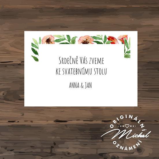 Pozvánka ke svatebnímu stolu - TYP 136
