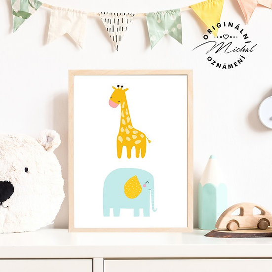 Plakát slon a žirafka