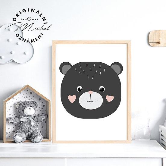 Plakát medvídek se srdíčky