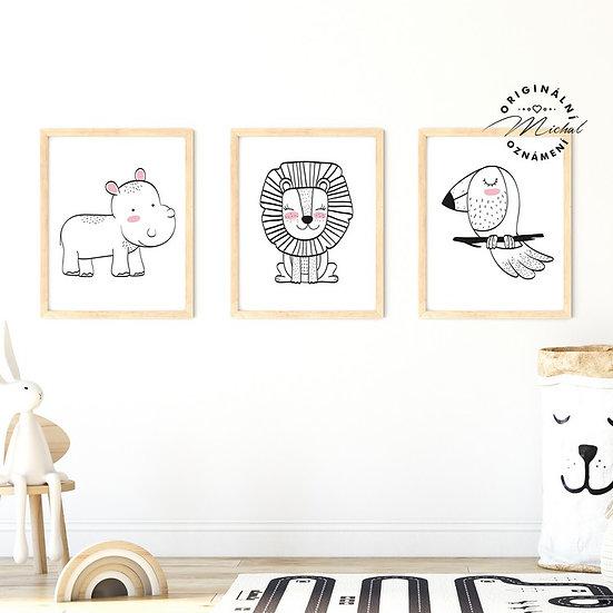 Plakát set hrošík, lvíček a ptáček