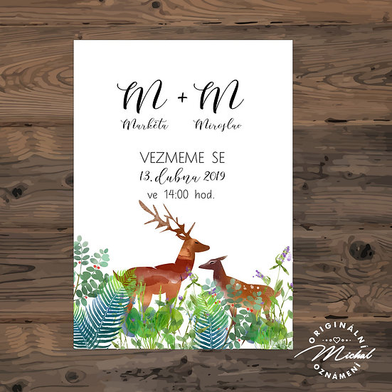 Svatební oznámení s jelenem