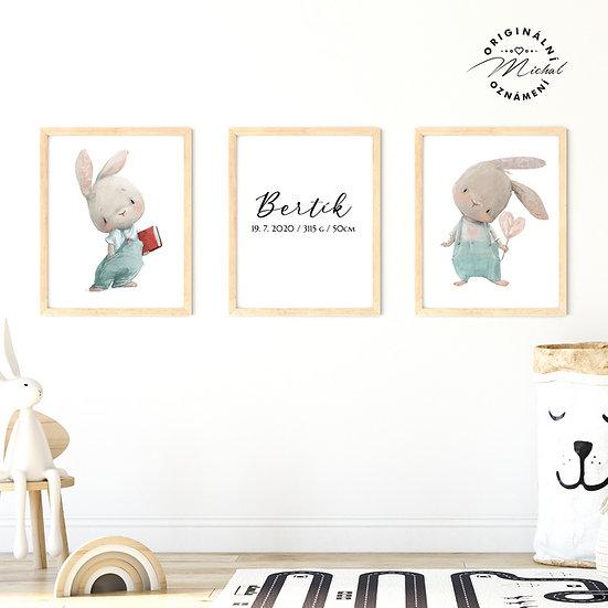 Plakát set zajíčkové nejmilejší se jménem