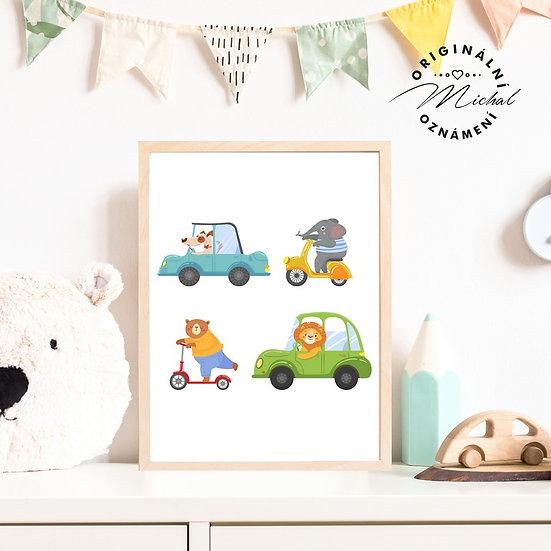 Plakát dopravní prostředky pro děti