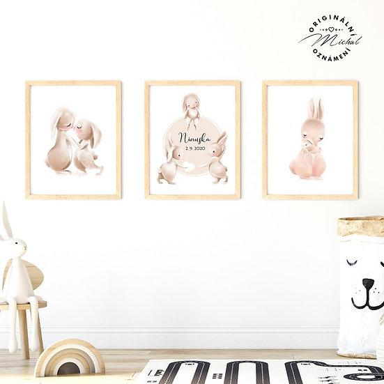 Plakát set zajíčkové rodina se jménem