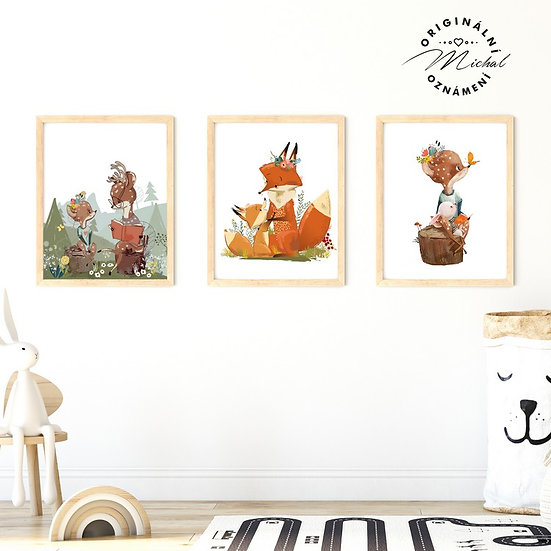 Plakát set lesní zvířátka v lese