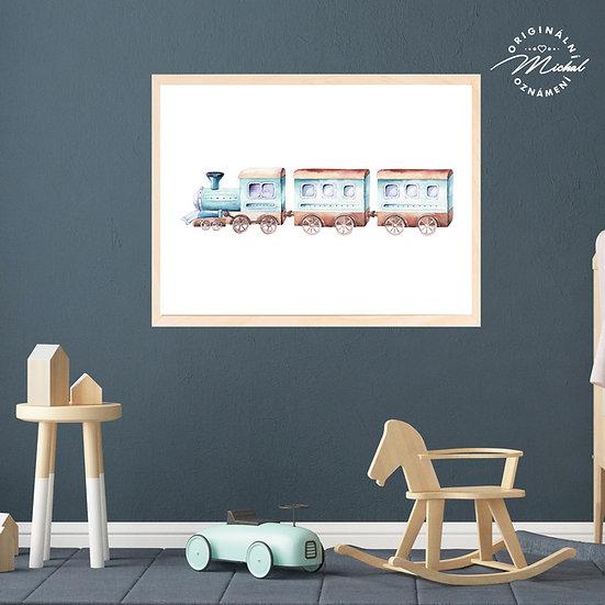 Plakát vláček vlak kluci