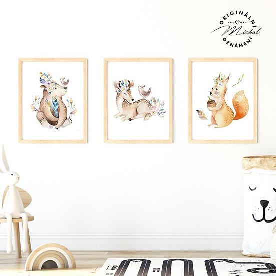 Plakát set medvídek, srnečka a veverka