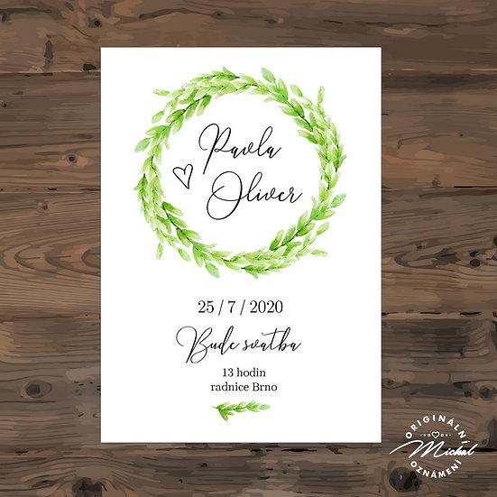 Svatební oznámení, zelený věneček, jarní