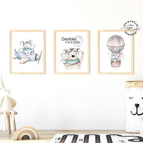 Plakát set letadélko, medvídek a balón