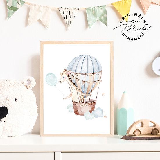 Plakát žirafa létající balón