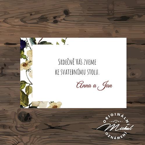 Pozvánka ke svatebnímu stolu - TYP 125