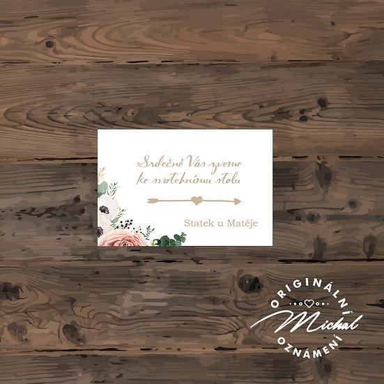 Pozvánka ke svatebnímu stolu - TYP 64