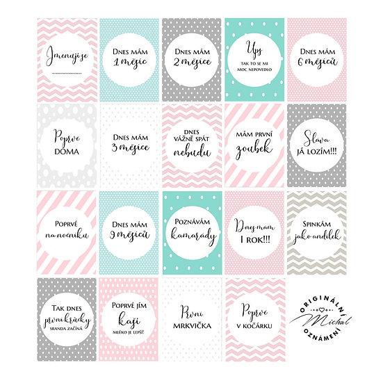 Milníkové kartičky pro holčičky 1