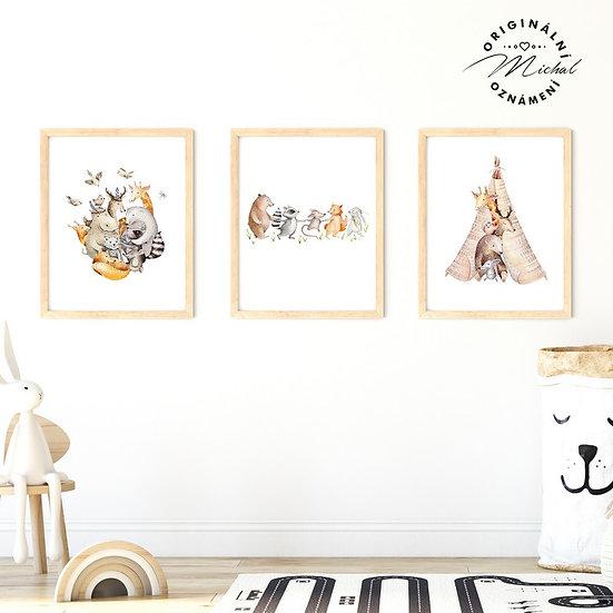 Plakát set zvířátka a tepee