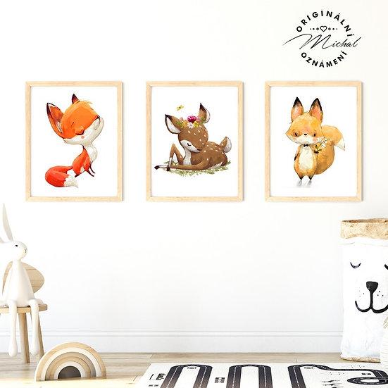 Plakát set lišák liška srnečka lesní zvířátka