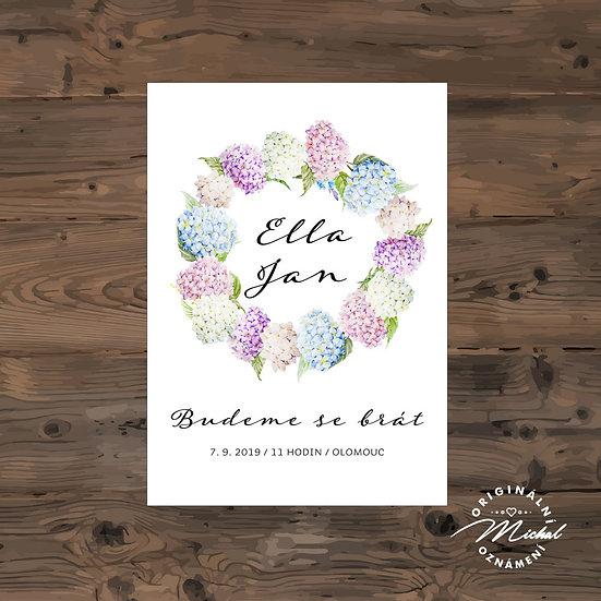 Svatební oznámení, Svatební oznámení s květy, boho oznámení