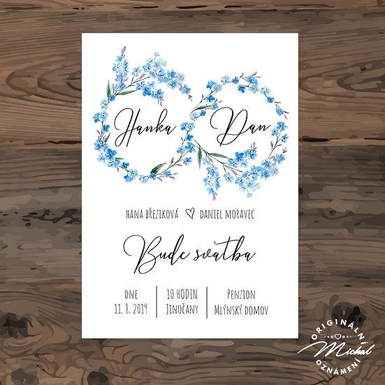 Svatební oznámení, modrý věneček, pomněnky
