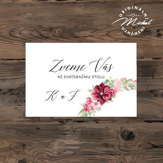 Pozvánka ke svatebnímu stolu - TYP 305
