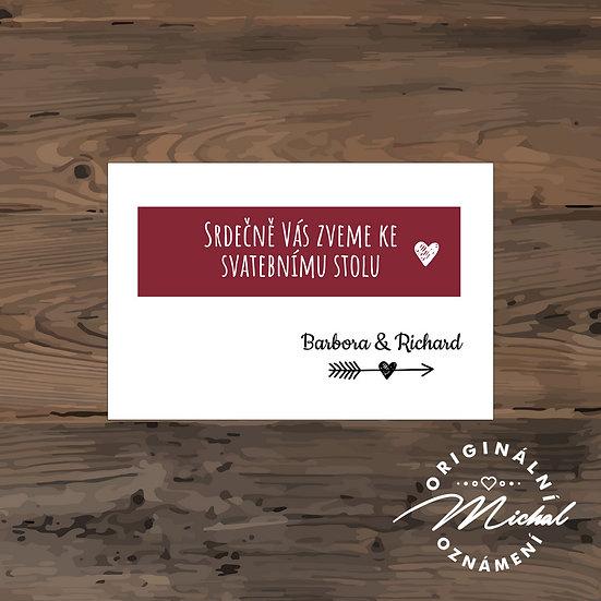 Pozvánka ke svatebnímu stolu - TYP 173
