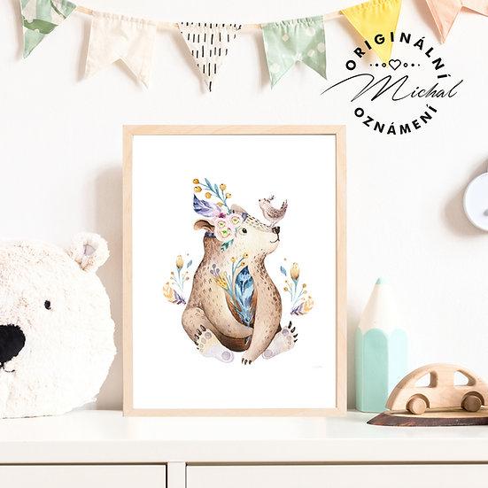 Plakát medvídek s ptáčkem