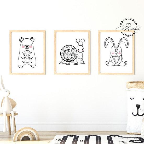 Plakát set šneček, medvídek a králíček