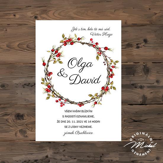 Svatební oznámení s květy, svatební oznámení podzimní, oznámení se šípky