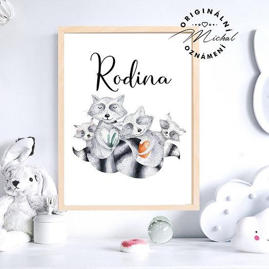 Plakát zvířátka rodina s textem
