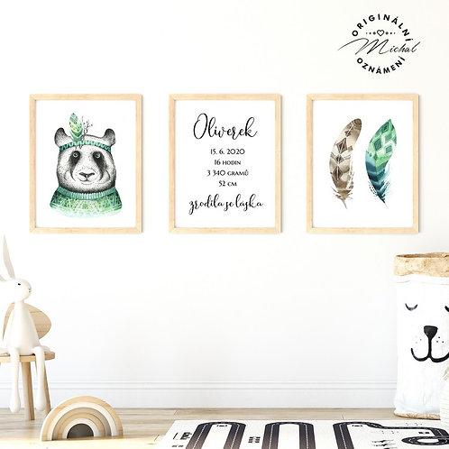 Plakát set panda s údaji o narození