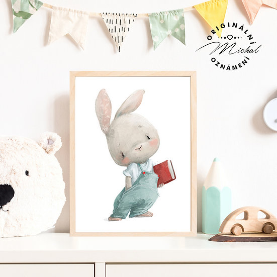 Plakát zajíček s knihou do pokojíčku