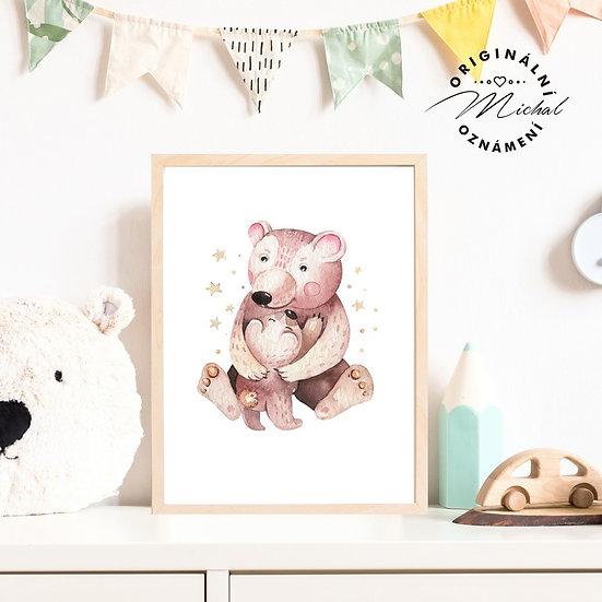 Plakát medvídě s maminkou medvědi