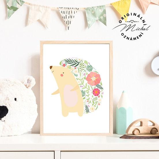 Plakát ježek s květy