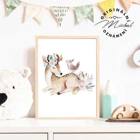 Plakát srnečka s ptáčkem