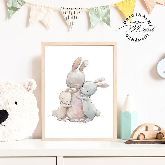 Plakát králíčkové objetí láska rodina