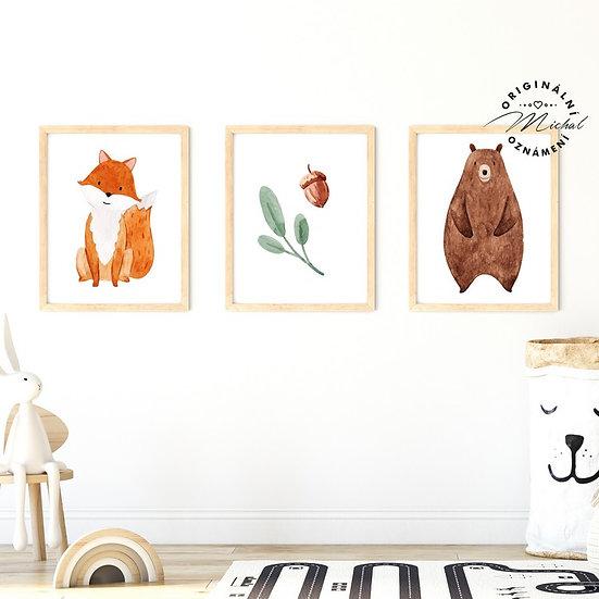 Plakát set lesní zvířátka