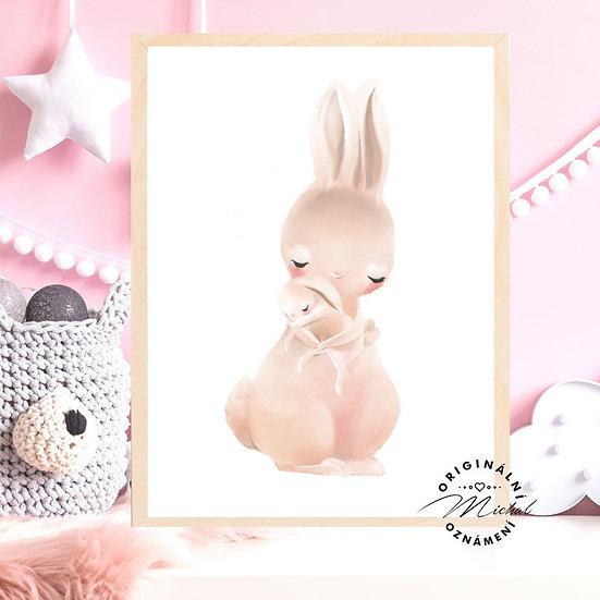 Plakát zajíček miminko s maminkou